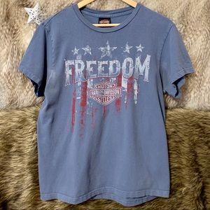 Vintage Harley Davidson Blue Graphic T-Shirt